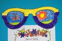 April Class Ideas / April brings to mind images of rain, umbrellas, flowers and other spring happenings. In Nebraska, my students are excited for sunshine and warmer days.  The symbols of spring work well in lesson plans, crafts, activities, and bulletin boards.   / by Nancy Full