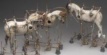 Mixed Media sculptures and assemblage / Hammer, Scissors, Thread, Glue.....Creative marriages, mixed media design