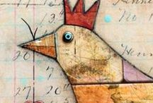 Mixed Media Paintings / collage and mixed media artwork, a marriage of painting, gluing, drawing, stamping and printing