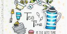 Coffee & Tea card / Cardmaking, coffee/tea/cocoa themed card, handmade card, papercraft