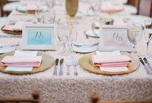 {weddings/events} tables / Table center pieces, place settings, color schemes, accents