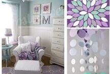 {baby} nursery / baby nursery decor, diy, color schemes  focusing on purple, mint, teal, and patterns