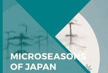Microseasons of Japan Series / Adopted from ancient China, the seasonal calendar of Japan was once divided into seventy-two divisions. Each division (候 – kō) was named with short phrases that described changes to the flora and fauna, and lasted roughly five days.  In this series, each microseason is featured on its own poster and illustrated in a style inspired by Japanese black ink paintings. A range of products, including prints, clocks, cushion cases, notebooks, cards and tapestries are available on Society6 and Redbubble.