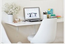 "Home office spaces / I have a huge obsession with home office spaces. Loving the idea of keeping all my ""thoughts"" on a desk."
