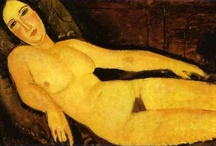 Amedeo Modigliani / Amedeo Clemente Modigliani was an Italian painter and sculptor who worked mainly in France. Primarily a figurative artist, he became known for paintings and sculptures in a modern style characterized by mask-like faces and elongation of form. / by Ellen Taborda