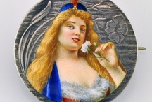 Baubles   Mini Portraits / A collection of wonderful enameled jewelry and trinkets featuring delicate, painted portraits. If you like a piece and would like to purchase it, click the image or link to see if it's still available. / by Sandy Weinstein