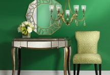 Color Trend: Green / It's easy being green! Fresh greens can be effortlessly incorporated into your home decor through lighting, furniture, accessories, and art. Our gathering of green hued decor is sure to inspire. / by 55 DOWNING STREET