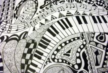 Musical notes and piano keyboards