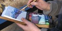 Painting the Landscape / Landscape painters at work, with easel and brush, painting and interpreting nature.