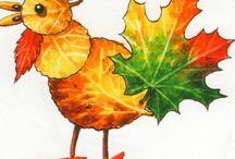 DIY. / Скоро осень, а значит, будем собирать опавшие листья безумных цветов и делать забавные аппликации! Идеи и вдохновение можно черпать на просторах сети :)