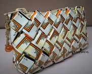 handmade handbags from recycled / upcycled tobacco packaging / Handmade Handbags