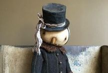Snow Folk / Primitive, vintage and whimsical snowman for the young at heart!