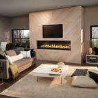 Transitional Style / Transitional design adeptly blends the best elements of both Traditional and Contemporary styles. It is rooted in Traditional principles but with an updated, modern approach. It's common to have a widescreen TV over the fireplace.
