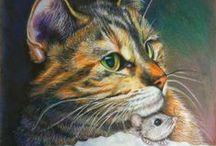 Cat Art - Cat n Mouse / Cat Art, Painting, Sketches, Prints