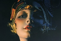 """Rolf Armstrong / Rolf Armstrong (1889-1960). American Weekly, in a 1952 article on calendar girls, called him """"The Dean of Calendar Artists."""" He's considered one of the Fathers of American """"Good Girl"""" art. His pastels graced advertising, magazine covers, sheet music, and of course, calendars, for over 40 years. An athletic man (he taught boxing and baseball, in addition to art), his earliest art was not pretty girls, but men of action (military, sports, old west)."""