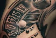 Gambling Tattoos / Decorative body art on the theme of chance, gambling & casinos.