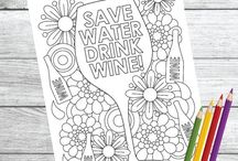 Color Me Wino / Color Me Wino: Wine Therapy Coloring Book & Page Downloads  Coloring book available at Amazon.com!