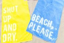 Summertime  DIY / Get ready for the sunny days ahead by monogramming your towel, labeling your bucket, and making a cup spike for the beach!