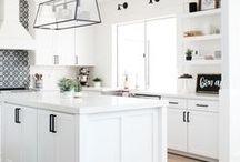 Kitchens I Love / Kitchens I Love | Compiled by Kim Stoegbauer, The TomKat Studio - Farmhouse Kitchens, Modern Kitchens, Remodeled Kitchens, White Kitchens, Patterned Backsplash, Black and White Tile
