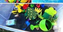 Sensory Tubs / Sensory tubs are a great learning experience for children.   They're not just for preschoolers!  Sensory bottles are relaxing and reduce daily stress children can experience in the classroom.  Here are a few ideas.