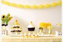 Party - Ducks / duck party ideas, rubber duck party ideas, yellow and blue and white party