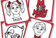Fun Money Stuff! / M is for Money books follow the financial adventures of twins, Tessa and Benji.  Take a peek at our fun money stuff! Visit www.misformoney.ca to buy our books and download free games and activities!