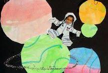 Tekenlesidee ruimtevaart * space / by Kleur Potlood