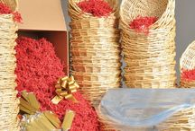 Gift Basket Kits / Kits have all the components to get you started on your gift baskets.  We've selected the correct size and amounts of shrink, shred, and pull bows to fit these baskets.