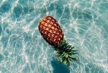 Sunny Days / summer, fun in the sun, tropical fruits, pineapples, pools, brightly colored fun!