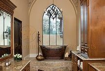 Bathroom Ideas / Inspiring photos of gorgeous bathrooms featuring copper sinks and faucets, bathtubs and accessories.