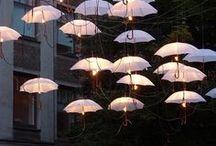 Umbrellas floating