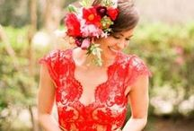 fiesta red weddings / dare to be bold and choose fiesta red for your wedding's color theme. from blooming deep red roses to bridesmaid dresses in the brightest hue, your fiesta wedding is sure to be memorable.