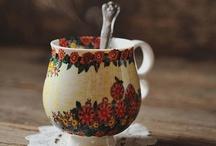 I heart mugs.  / I am a tea enthusiast.  and coffee is what gets me through studio.