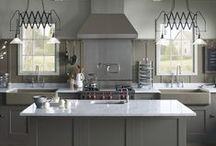 Farmhouse Neutral Kitchen / Classic lines, reclaimed accents and a muted color scheme bring an undeniably sophisticated ambiance to this farmhouse kitchen. / by Kohler Co.