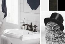 Black & White Bathroom / White tuxedo shirt. Little black dress. Some combinations seem destined to be together. A blank page. Dark ink. We're drawn again and again to the graphic, bold silhouettes that turn up wherever black and white come together in design.  / by Kohler Co.