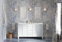 Delft Blue Bathroom / Blue-and-white toile brings this traditional bathroom home with a flourish. Add the right touch of modern with smart storage and spa-like bathing for the best of both worlds.