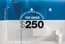 Little Budget Big Impact Bathroom Updates / Don't let your outdated bathroom get you down. It's easy to make a few small updates that will change your space considerably – without a big budget. So you'll like your space better and feel more comfortable sharing with guests. Here are a few ideas: / by Kohler Co.