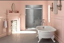 Simply Spring Bathroom / We partnered with the bloggers at Inspired by This to celebrate spring with a new twist on the classic pink bathroom. Floral prints, bold geometrics, and classic architectural elements come together for a look that's fresh enough to dispel any memories of a winter we're all happy to say farewell to. / by Kohler Co.