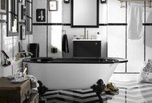 Charlie Chaplin Inspired Bathroom / We've teamed up with Melike Gul, a Turkish architecture student and fashion blogger on a classic, black-and-white, vintage style bathroom inspiration that's iconic, original and slightly quirky—much like Charlie Chaplin himself. / by Kohler Co.