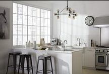 Williamsburg Warehouse Kitchen / Whether you're outfitting an urban loft or just yearn for a kitchen that captures the style, you'll do well to mix vintage and industrial forms and include products with turbo-charged function under their nostalgic good looks. Indispensable kitchen partners include a generously sized farmhouse sink with tactile texture, handsome vintage-inspired faucets with spray options and a convenient pot-filler at the stove top.  / by Kohler Co.