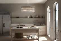 Hollywood Hills Kitchen / With its clean lines and blush-colored walls, silvery woods, and shimmering lighting, this kitchen is nothing short of glamorous. / by Kohler Co.