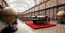 Biblioteche Romane / Mappamondi di legno, volte a botte e scaffalature d'autore a perdita d'occhio. Il nostro nuovo board pineterest esplora alcune delle più belle biblioteche romane.