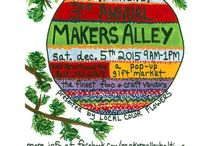 Makers Alley - A Pop-Up Gift Market / Makers Alley is a pop-up gift market featuring local craft and food vendors from the Baltimore and Maryland region.  December 5 from 9am -1pm at Local Color Flowers 3100 Brentwood Avenue, Baltimore, MD