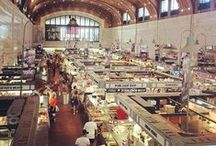 Indoor Markets / Indoor markets with food vendors, farmers, butchers, sitting, furniture, art, and bar