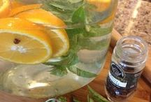 "Infused ""spa"" Water / Refreshing, energetic and so good for you! Many of these are my own creations for guest water here in our bed and breakfast."