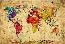 Mapas do Mundo / Apesar das fronteiras, nosso mundo é um só. / by Morgania Soares