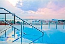The Panoramic Rooftop Pool / Exclusive and amazing views from the rooftop panoramic pool at Hilton Molino Stucky Venice