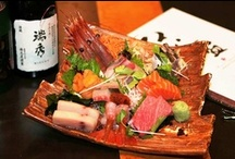 JAPAN_Sashimi 刺身 / Sashimi  is a Japanese delicacy.Salmon (鮭 Sake)Squid,(いか Ika),Shrimp (えび Ebi),Tuna (まぐろMaguro),Mackerel (さば Saba)Horse Mackerel (あじ Aji),Octopus (たこ Tako),Fatty Tuna (とろ Toro),Yellowtail (はまち Hamachi),Puffer Fish Takifugu (ふぐ Fugu),Scallop (ほたて貝Hotate-gai),Sea Urchin (ウニ Uni)  / by M. Kawatou