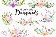 Watercolor Cliparts / Watercolor graphics and illustrations for wedding invitation, printable, card and stationery designers