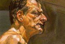 LUCIAN FREUD / Lucian Michael Freud (1922 – 2011) was a German-born British painter. Known chiefly for his thickly impastoed portrait and figure paintings, he was widely considered the pre-eminent British artist of his time. His works are noted for their psychological penetration and discomforting examination of the relationship between artist and model